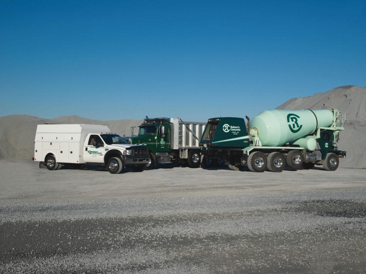 Rohrer's concrete truck, stone truck, service truck